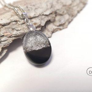 biżuteria naszyjnik czarno-srebrny owal