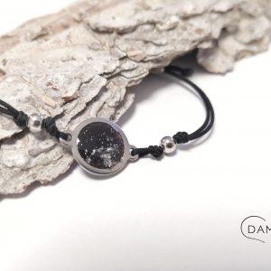biżuteria bransoletka czarne oczko z brokatem