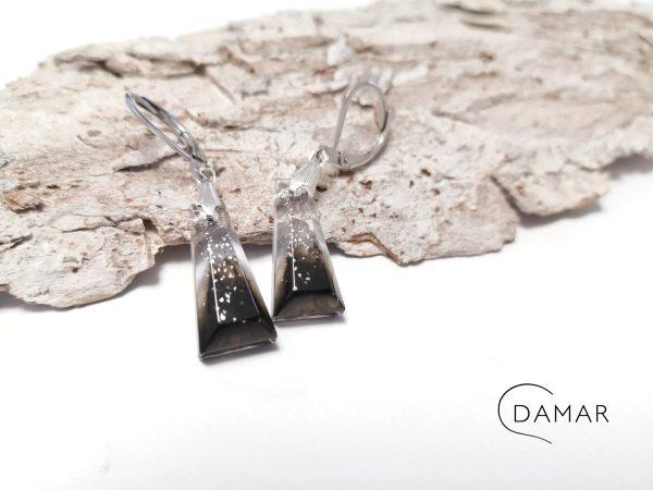 biżuteria kolczyki czerń ze szczyptą brokatu