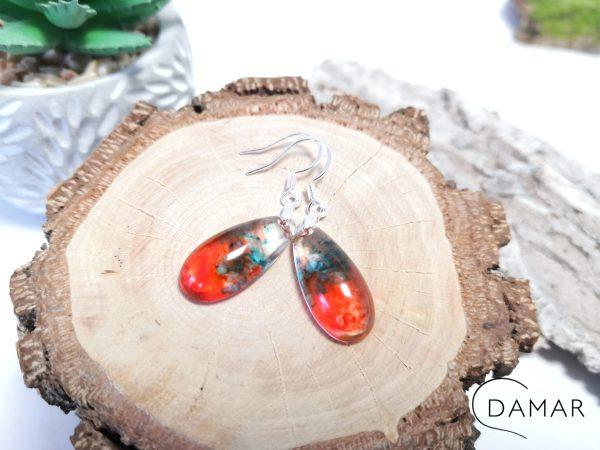 biżuteria kolczyki czerwono niebieskie