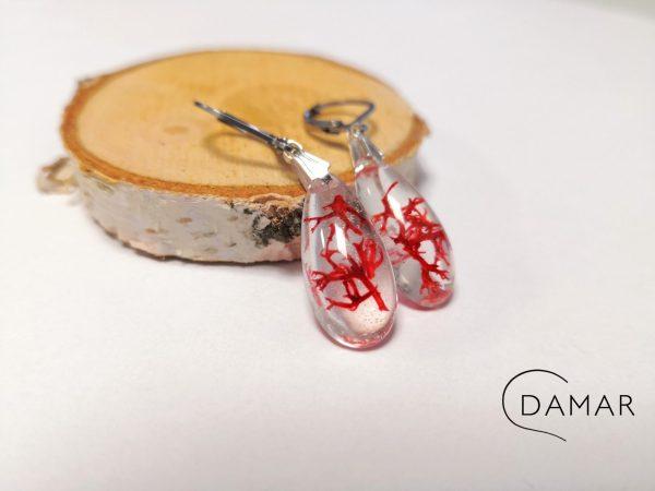 biżuteria kolczyki czerwony chrobotek w kropli