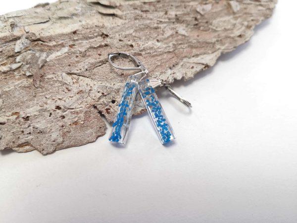 biżuteria kolczyki z niebieskim piaskiem