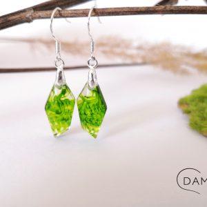 biżuteria kolczyki zielony dymek