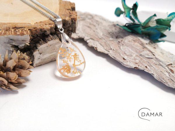biżuteria naszyjnik beżowy chrobotek w owalu
