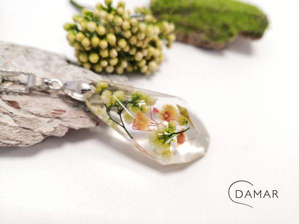 biżuteria naszyjnik bukiet w bryłce kryształu