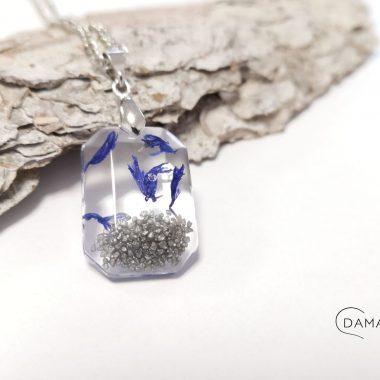 biżuteria naszyjnik chabry i srebrny piasek
