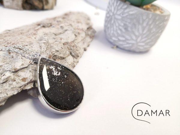 biżuteria naszyjnik czarna łezka