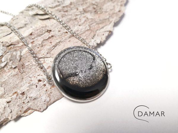 biżuteria naszyjnik czarno-srebrny wisior na dwóch łańcuszkach