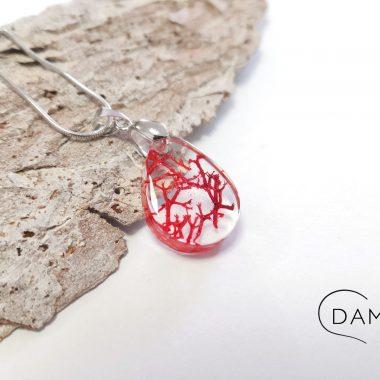 biżuteria naszyjnik czerwony chrobotek