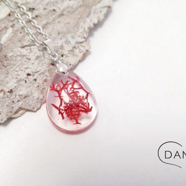 biżuteria naszyjnik czerwony chrobotek w kropli