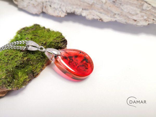 biżuteria naszyjnik czerwony z dymkiem