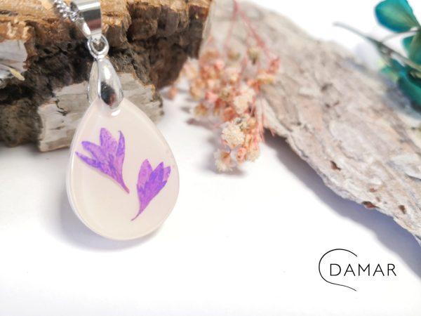 biżuteria naszyjnik fioletowe kwiatuszki