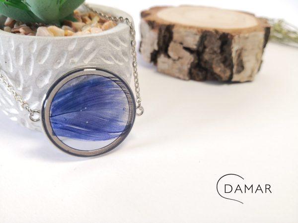 biżuteria naszyjnik niebieskie piórko
