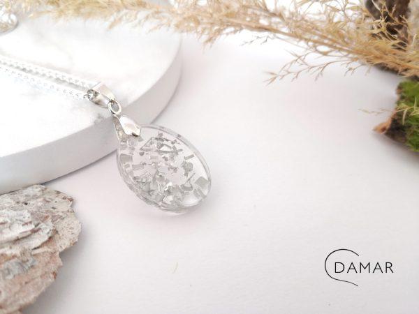 biżuteria naszyjnik srebrne opiłki