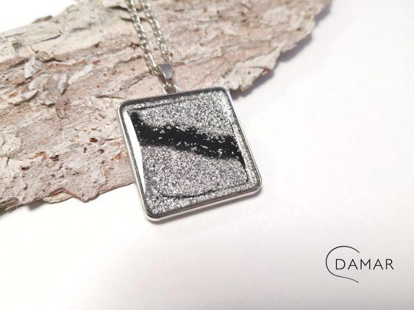 biżuteria naszyjnik srebrny kwadrat