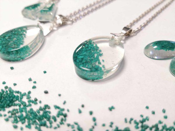 biżuteria naszyjnik turkusowy piasek