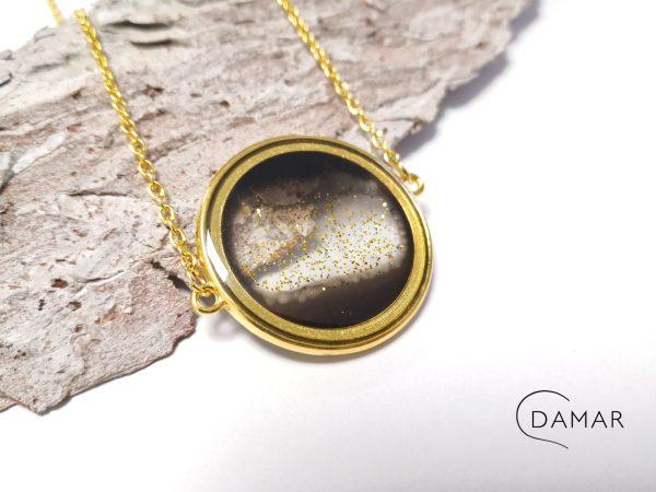 biżuteria naszyjnik złote koło na dwóch łańcuszkach