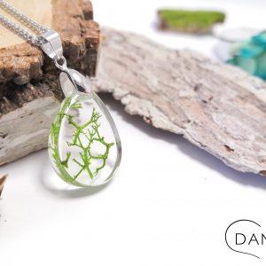 biżuteria zielony chrobotek w łezce