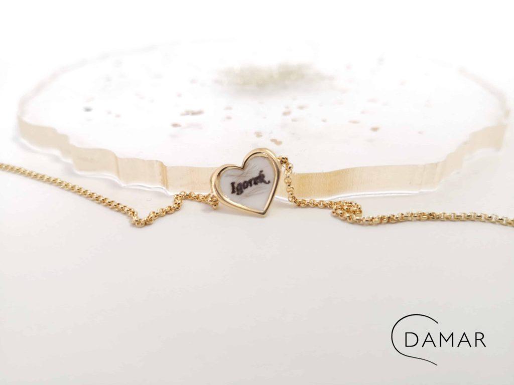 pamiątka rodzinna biżuteria damar naszyjnik z imieniem dziecka męża